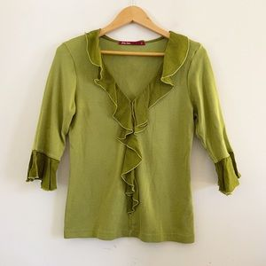 Green vintage top with ruffles